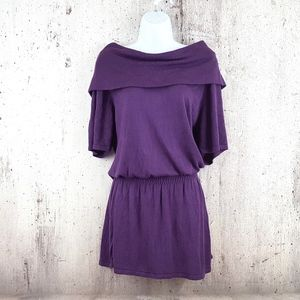 Max Studio Purple Smocked Waist Cowl Neck Dress